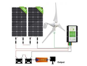 ECO-WORTHY 600 Watts 24V Solar Wind Turbine Generator Power Kit: 1pc 400 Watt Wind Turbine + 2pcs 100W Mono Solar Panel + 1pc Solar Wind Hybrid Controller + 1pc 1500W 24V Inverter